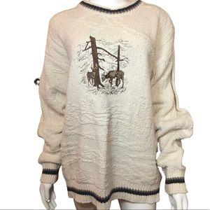 Vintage St. John's Bay Chunky Knit Deer Sweater M